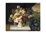 Daisies, Hydrangea, Poppies, Carnations and other Flowers in a Vase Giclee Print by Joseph		 Steiner