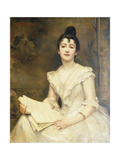Portrait of a Lady in a White Dress, Reading a Music Score Giclee Print by Caroline		 Feuillas-Creusy