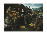 An Allegory of Autumn: A Fruit and Vegetable Stall above the Weinmarkt in Frankfurt Prints by Georg		 Flegel