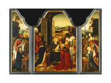 A Triptych: The Adoration of the Magi, with Saint James and Saint Catherine of Alexandria Prints