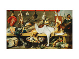 A Butcher's Stall with Cats and Kittens playing and a Butcher holding a Boar's Head Giclee Print by Frans		 Snyders