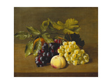 A Peach, an Orange and Grapes on a Wooden Ledge Prints by William		 Hammer