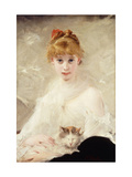 Young Girl with Cat Giclee Print by Charles		 Chaplin