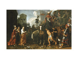 Jephthah Welcomed Home from the Battlefield by His Daughter Poster by Pieter		 Lastman