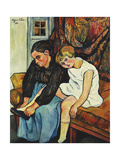 Grandmere chaussant une Fillette Art by Suzanne		 Valadon