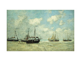 Boats on the Shore at Scheveningen Giclee Print by Eugène Boudin