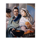 A Girl in a pink Dress and white shawl offering Oranges to a Gentleman.. Giclee Print by Lorenzo Baldissera		 Tiepolo