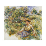 Woman in a Blue Hat sitting on the Grass Posters by Pierre-Auguste		 Renoir