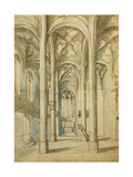 The Interior of a Gothic Church Giclee Print