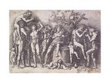 A Bacchanal with a Wine-Press Posters by Andrea		 Mantegna