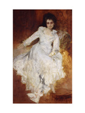 Portrait of a Lady Wearing a White Dress Reclining on a Sofa Giclee Print by Hans		 Makart