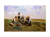 The Haymakers' Lunch Giclee Print by Jules Jacques		 Veyrassat