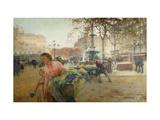 Place du Theatre Francais, Paris Giclee Print by Eugene Galien-Laloue