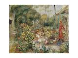 Girls in a Garden in Montmartre Giclee Print by Pierre-Auguste Renoir