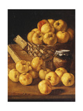 Apples in a Basket, a Jar and Condiment Boxes on a Table Prints by Luis Melendez