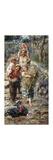 Children with Turkeys Premium Giclee Print by Vincenzo Irolli