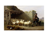 A Shepherd and his Flock Prints by Eugene		 Verboeckhoven
