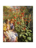 By the Hollyhocks Giclee Print by Sychkov Th.
