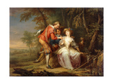 Amorous allegorical Scenes in wooded Landscapes Prints by Franz Christoph		 Janneck