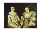A Group Portrait of a Gentleman in a White Doublet and his Wife, in a White and Green Dress Prints