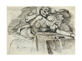 A Woman Swooning at a Writing Table, with a Threatening Figure Behind Prints by Henry Fuseli