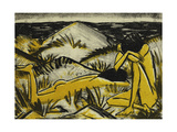 Dunes One Sitting and Girl Lying Down (Two Girls in the Sylt Dunes) Print by Otto		 Mueller