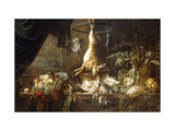 A Hare and Snipe Hanging from a Game-Ring.. Giclee Print by Adriaen Utrecht