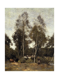 Clairiere Pierre du Bois, the Evaux, near Chateau-Thierry Print by Jean-Baptiste-Camille Corot