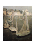 Breton Port by Moonlight Premium Giclee Print by Henri		 Le Sidaner