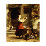 The Kitchen Maid's Mirror Giclee Print by Johannes		 Moeselagen