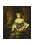 Portrait of a Lady, wearing a Grey Satin Dress Giclee Print by Caspar		 Netscher