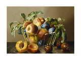 A Glass Bowl of Peaches and Plums on a Marble Ledge Posters by Anton		 Hartinger