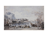 A View of the Port of Palermo Prints by Louis Jean		 Desprez