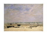 River Barges at Low Tide Premium Giclee Print by Eugène Boudin