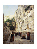 Praying at the Western Wall, Jerusalem Print by Gustave		 Bauernfeind