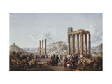 A View of the Acropolis, Athens, from the Temple of Zeus at Olympia Prints by Louis Francois		 Cassas