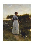 A Shepherdess with her Dog and Flock in a Moonlit Meadow Giclee Print by George Faulkener		 Wetherbee