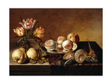 A Silver Plate of Peaches, a Vase of Parrot Tulips, Pears and Shells on a Partly Draped Table Prints by Assteyn Bartholomeus
