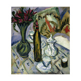 Teapot, Bottle and Red Flowers Giclee Print by Ernst Ludwig Kirchner