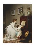 The First Lesson Premium Giclee Print by George Frederick		 Folingsby