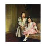 Portrait of the Daughters of Lawrence Pilkington Print by Susan Isobel		 Dacre