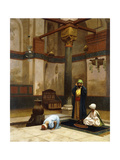 Three People Praying in the Corner Mosque Giclee Print by Jean Leon		 Gerome