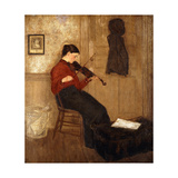 Young Woman with a Violin Print by Gwen		 John