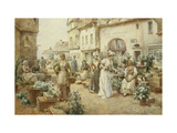 A Flower Market, France Giclee Print by Alfred Augustus Glendening II