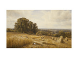 An Extensive Landscape with Harvesters Giclee Print by Edmund George		 Warren