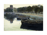 Boats at their Moorings Giclee Print by Victor		 Dupre
