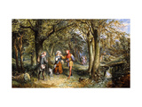 A Scene from 'As You Like It': Rosalind, Celia and Jacques in The Forest of Arden Prints by John Edmund		 Buckley