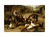 A Boy with Poultry and a Goat in a Farmyard Giclee Print by Charles Hunt
