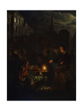 A Market Scene at Night Art by Petrus Schendel