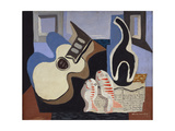 Blue Still Life with Bottle Giclee Print by Louis Marcoussis